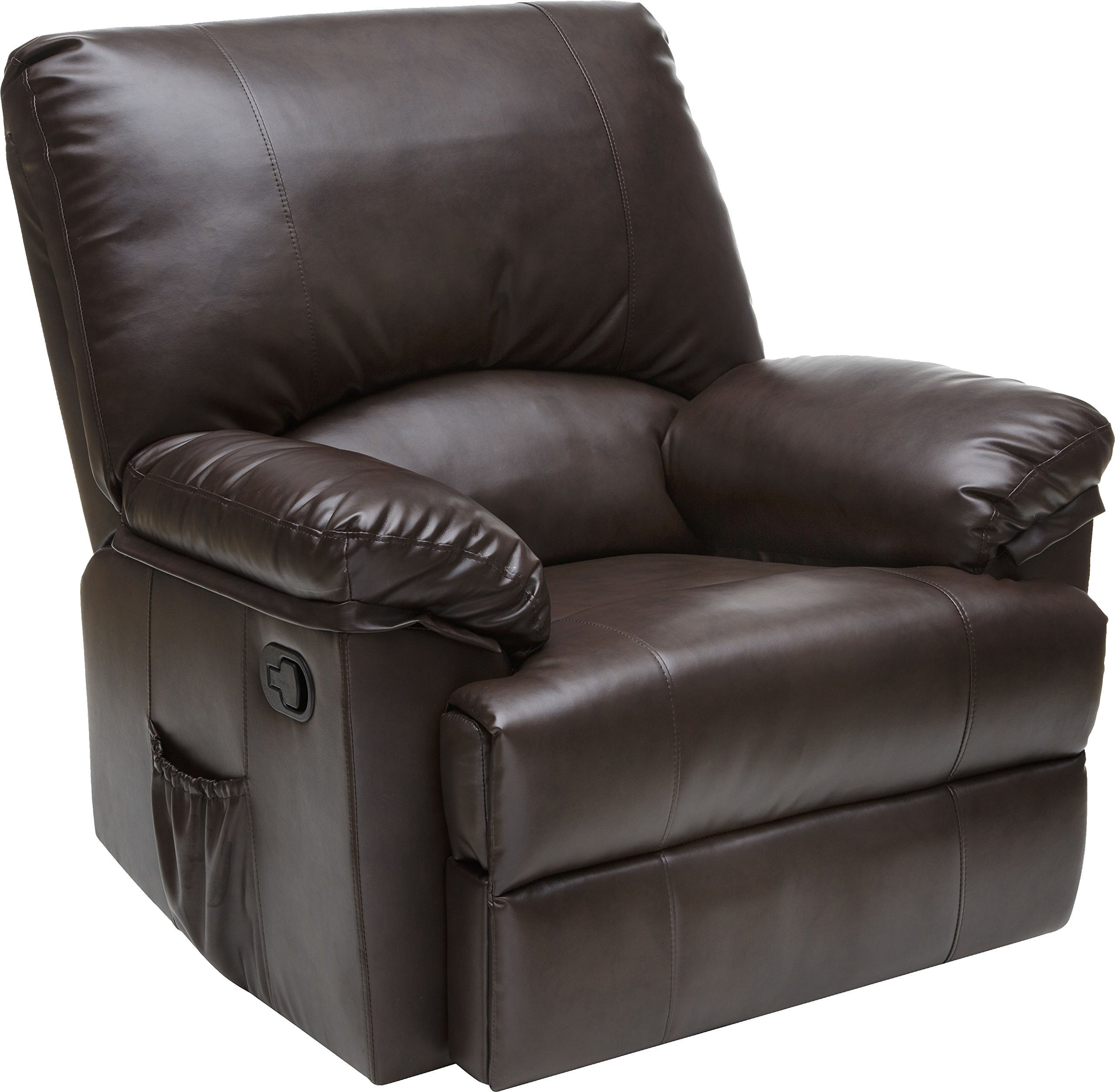Relaxzen 60-7000M Rocker Recliner with Heat and Massage, Brown Marbled Leather by Relaxzen