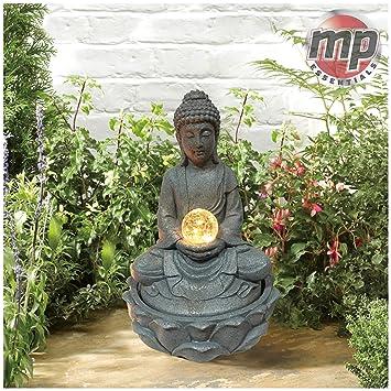 MP Essentials Garten Outdoor Solar Buddha Wasserspiel Brunnen Mit Licht Ball