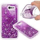 Samsung Galaxy J3 Emerge, Liquid Case, Asstar Fashion Creative Design Flowing Liquid Floating Luxury Bling Glitter Sparkle Diamond Soft Case For Samsung Galaxy J3 Emerge / Galaxy J3 2017 (Purple)