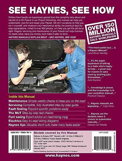 Amazon.es: Haynes Manual de Volkswagen Passat, 1, 6 L y 2, 0 L, diésel (2011 a 2014)