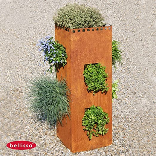 Bellissa – Hierbas Torre Acero Corten rectangular 30 x 30 x 80 cm ...