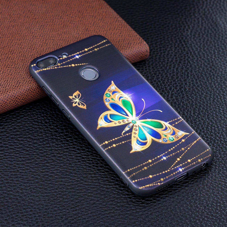 Felfy Cover Compatibile con Huawei P20 Lite Custodia Silicone Nero Opaco Cover con Disegni,Ultra Slim Sottile Morbido Flessibile Gomma TPU Bumper Antiurto AntiGraffio Protettiva Cover-Loto