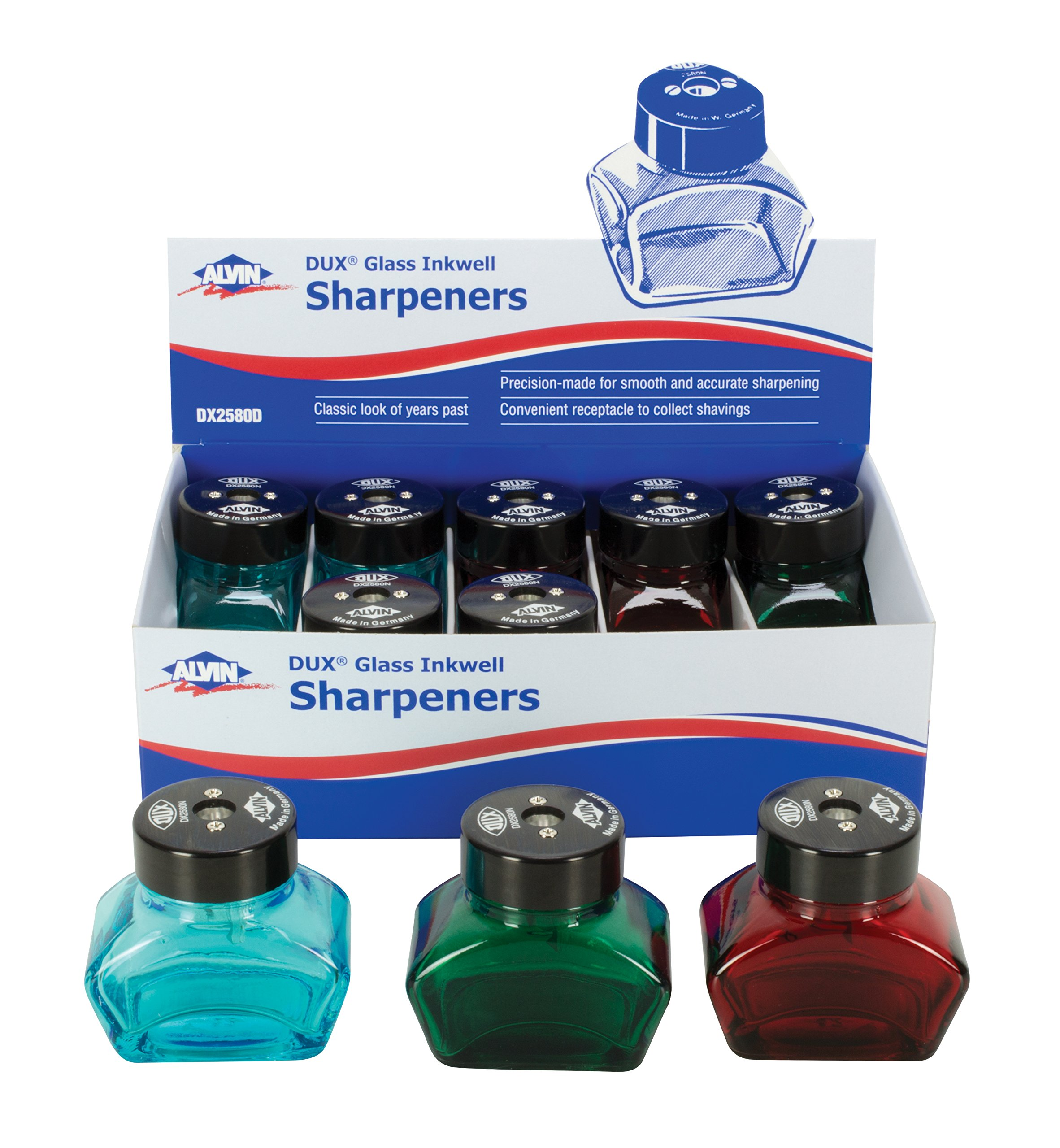 Alvin DX2580D DUX Glass Inkwell Sharpeners Assorted colors (10)