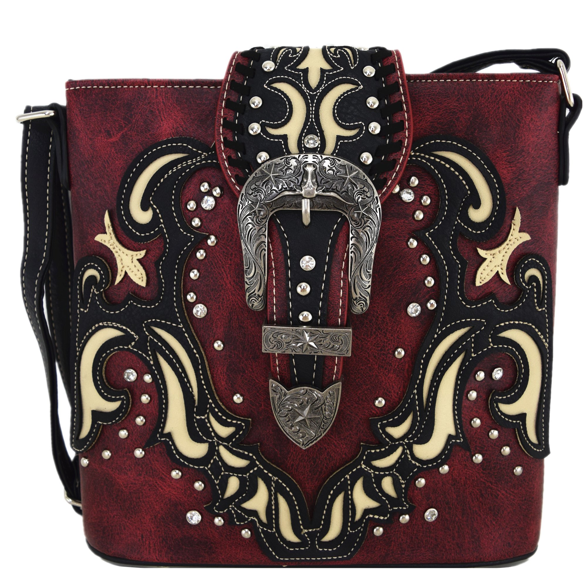 Western Style Buckle Belts Cross Body Handbags Concealed Carry Purse Women Country Single Shoulder Bags (Red)
