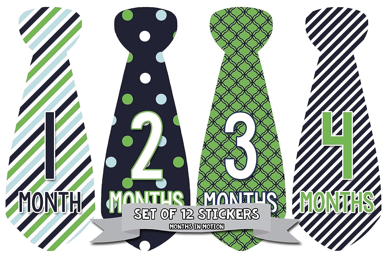 Months in Motion 703 Monthly Baby Stickers Necktie Tie Baby Boy Months 1-12