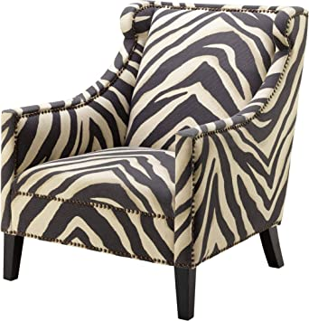 Amazon Com Zebra Print Upholstered Living Room Arm Chair