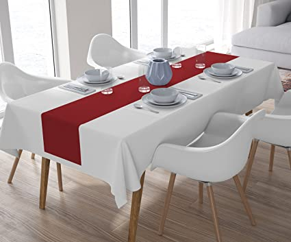 Encasa Homes Dining Table Runner Plain Dyed,4 Seater And 6 Seater,(40X150,Red)