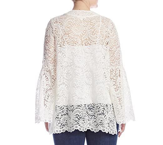 e8298a93c Skylar & Jade by Taylor & Sage Plus Size Lace Bell Sleeve Cardigan - White  - 3X: Amazon.co.uk: Clothing