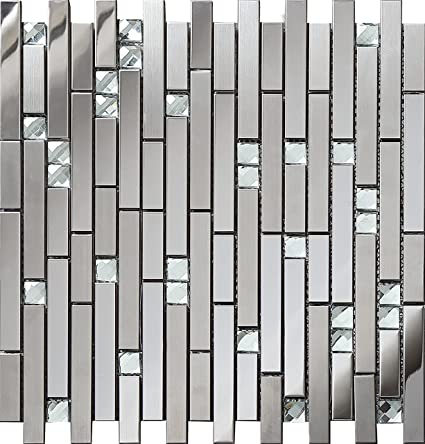 Luminous Diamond Glass Metal Backsplash Tile For Kitchen Bathroom