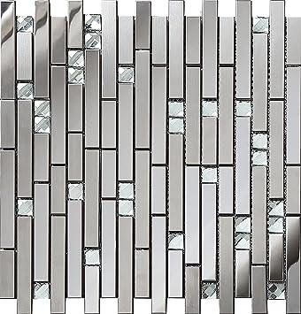 Mischen Der Farbe Silber Spiegel Aus Glas Und Metall Edelstahl Mosaik  Fliesen Für Wand