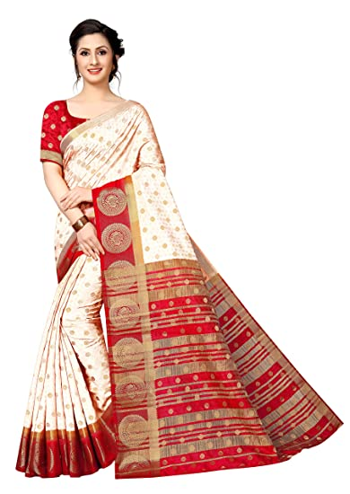 3629935b9a Anni Designer Silk Saree with Blouse Piece (RICH BUTTA WHITE RED_Red_FS)