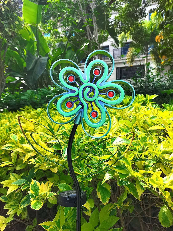 Solar Flower Metal Light- Garden Decorative- with Neon Light Metal Yard Stake Garden Solar Lighting Solar Stake Light for Outdoor Pathway Patio Courtyard