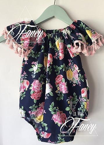 15ba6316b4633 Amazon.com: Flowers and Pom Poms Girls Boho Romper Clothing: Handmade