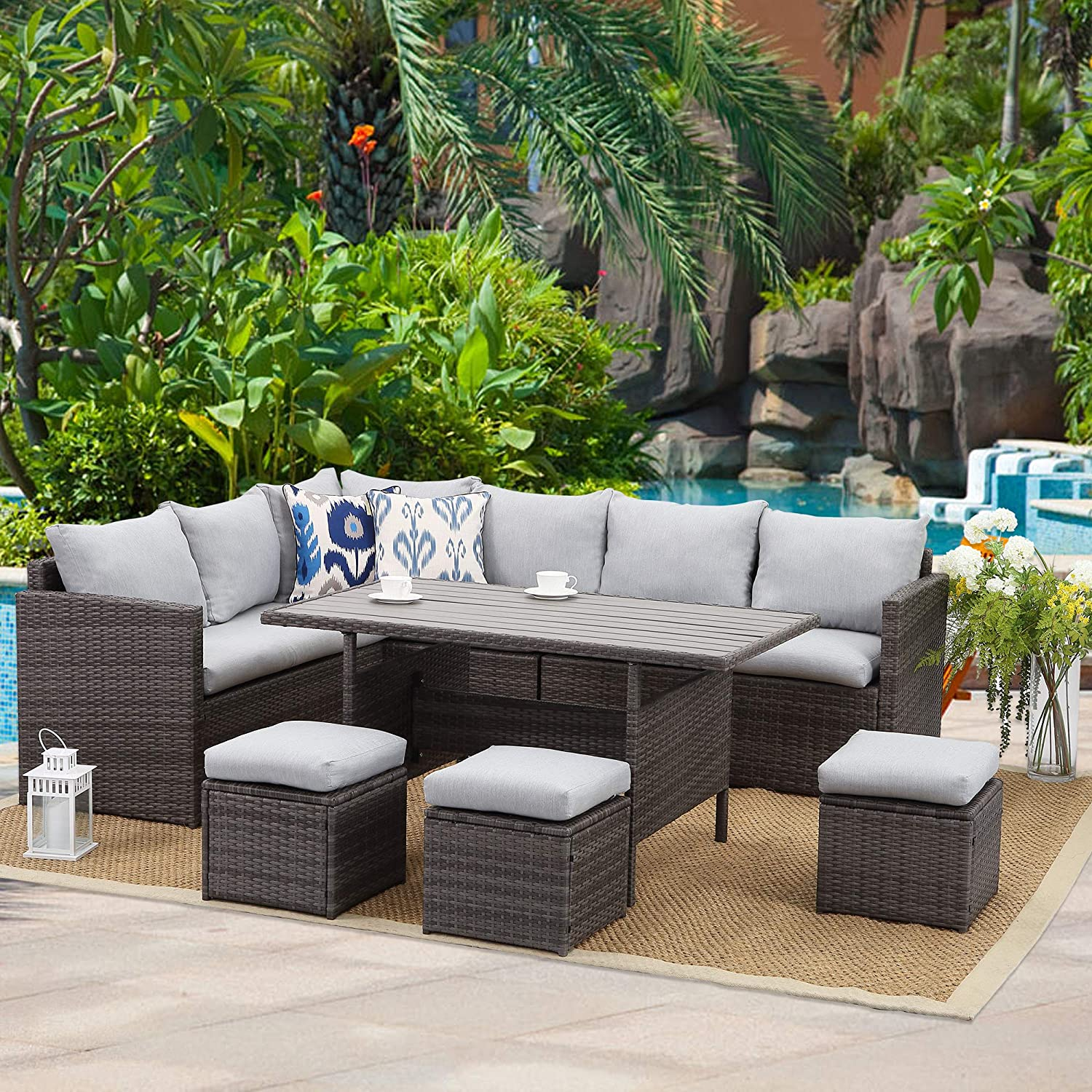 Wisteria Lane Patio Furniture Set,7 PCS Outdoor Conversation Set All Weather Wicker Sectional Sofa Couch Dining Table Chair with Ottoman, Light Grey