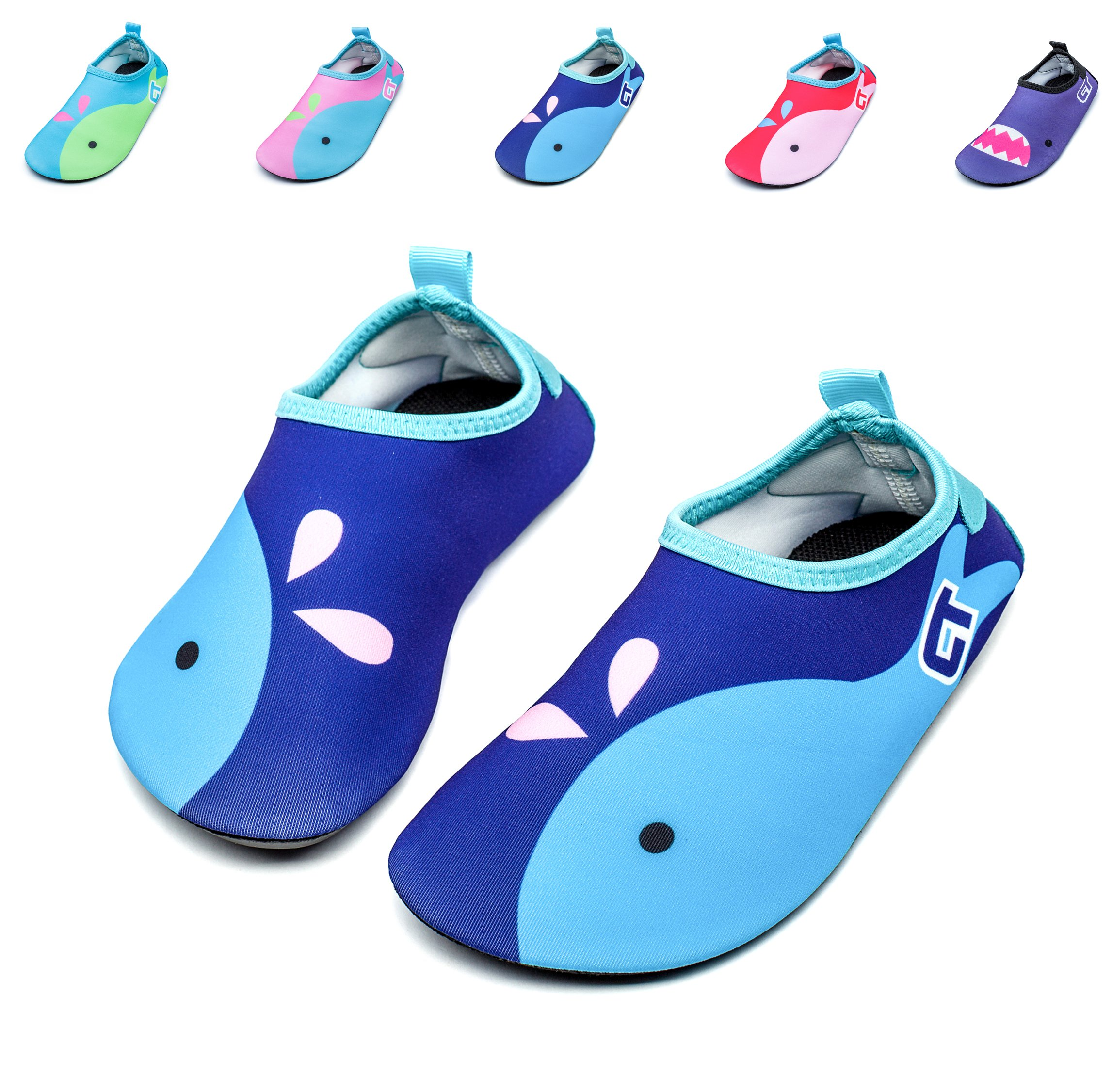 Giotto Kids Swim Water Shoes Quick Dry Non-Slip for Boys & Girls, Blue, 22-23