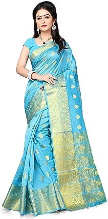 7a3c9393875642 Indian Fashionista Women's Banarasi Silk Saree With Blouse Piece(Sky ...
