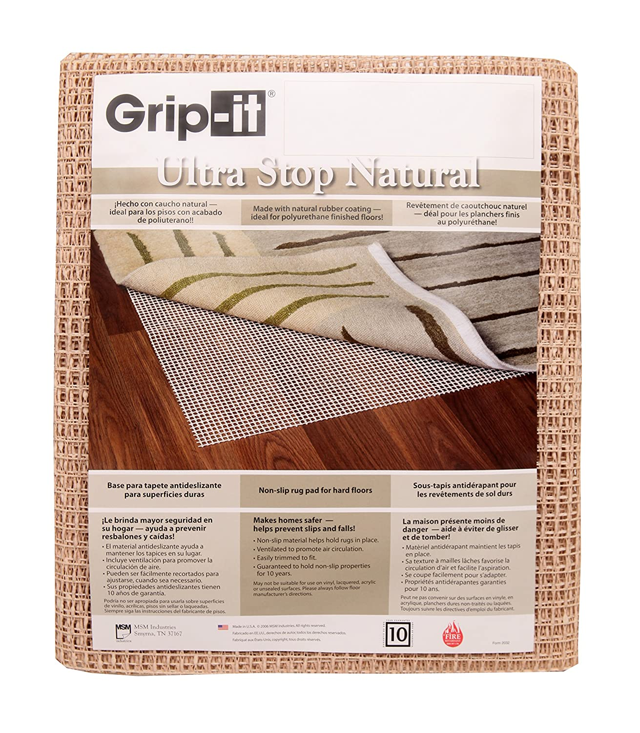 Grip-It Ultra Stop Non-Slip Rug Pad for Rugs on Hard Surface Floors, 2 by 4-Feet, Natural MSM Industries ULN2X4