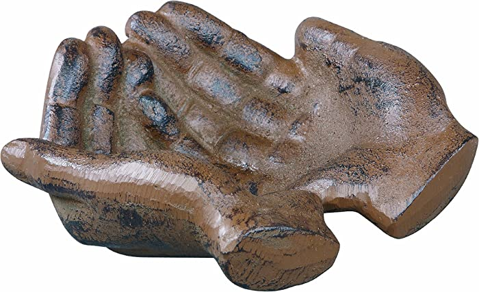 Creative Co-Op HD5974 Cast Iron Hands Dish with Rust Finish