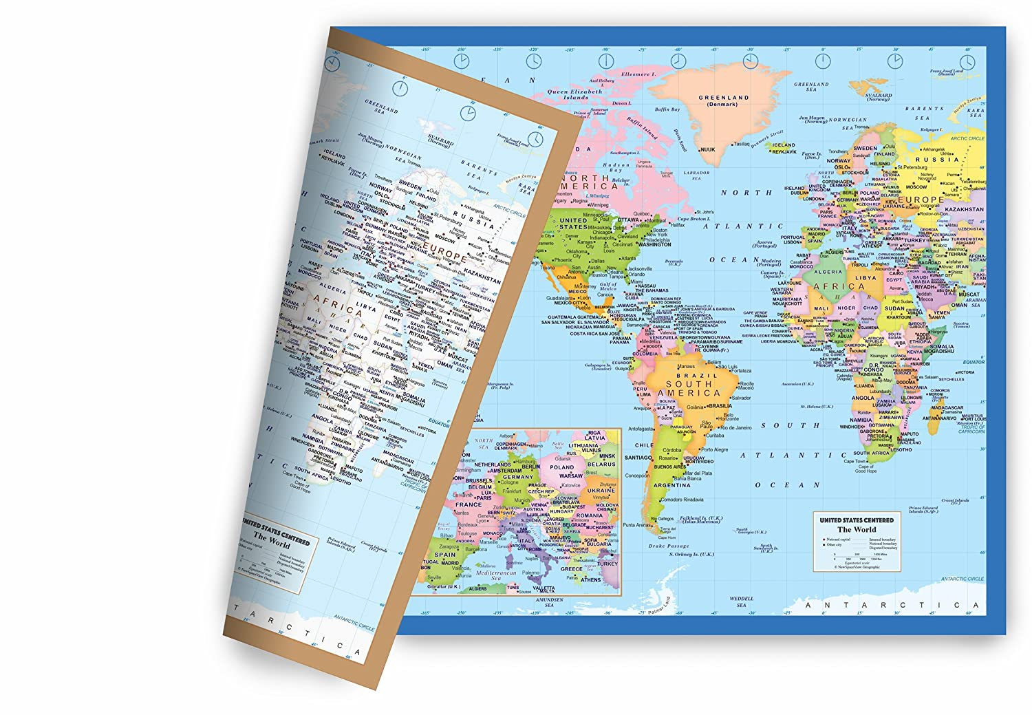 Amazon.com : World Map Small Poster Size 11.5 x 17.5 inches, 2-Sided ...