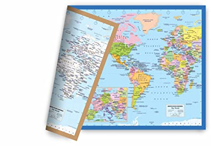 Amazon world map small poster size 115 x 175 inches 2 sided world map small poster size 115 x 175 inches 2 sided sealed lamination gumiabroncs Choice Image