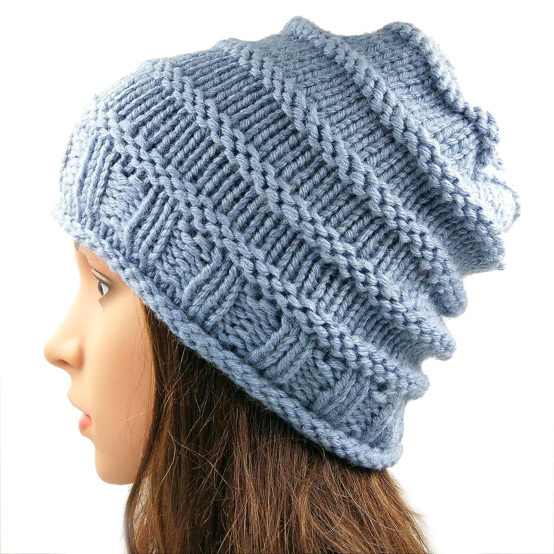 Magic Needles Winter Woolen Cap Handmade Womens Spiral Slouchy