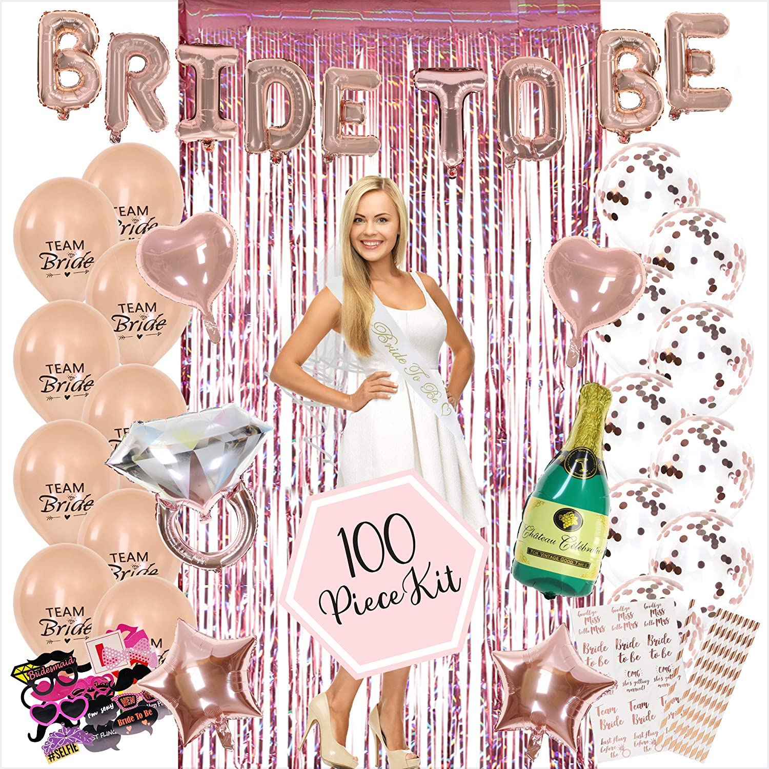100PC Bachelorette Party Decorations Kit | Bridal Shower Decor Supplies | Rose Gold Paper Straws, Fringe Photo Booth Backdrop & Props, Bride To Be Sash, Veil, Temporary Tattoos, Confetti Balloons Pack
