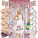 100PC Bachelorette Party Decorations Kit   Bridal Shower Decor Supplies   Rose Gold Paper Straws, Fringe Photo Booth…