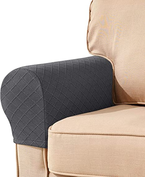 2Pcs Removable Armrest Covers Anti-Slip Jacquard Sofa Chair Couch Protector