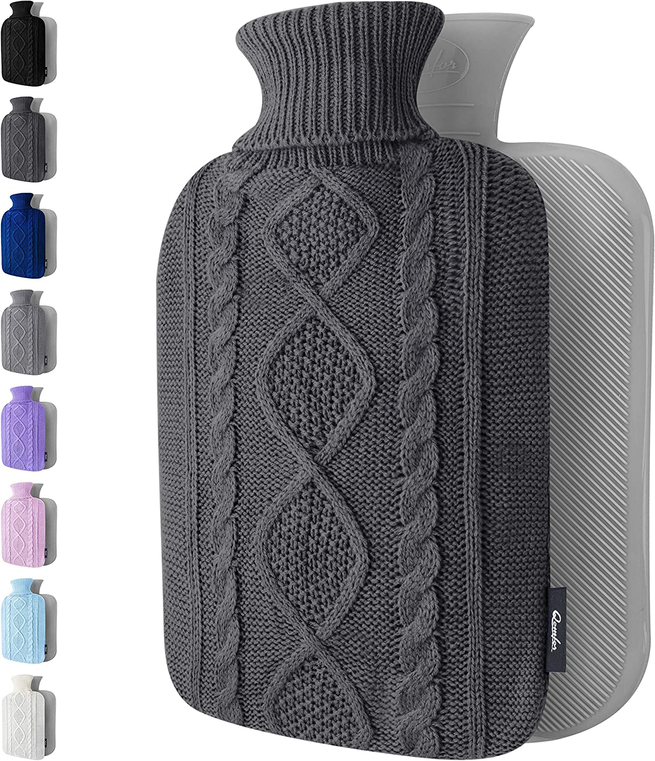 Hot Water Bottle with Cover - 1.8L Large - Premium Hot Water Bag with Knitted Sweater Cover - Great for Cramps, Pain Relief & Cozy Nights - Water Heating Pad - Feet & Bed Warmer for Adults (Dark Gray)