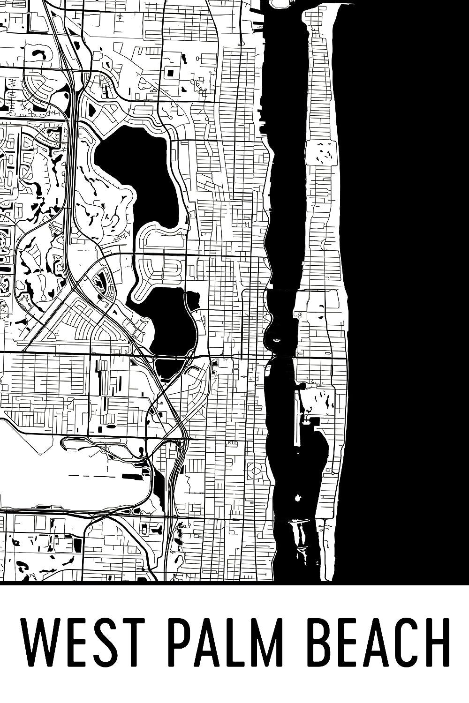 Modern Map Art West Palm Beach Drucken, West Palm Beach Art, West ...