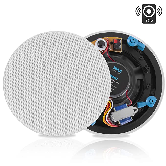"Ceiling and Wall Mount Speaker - 6.5"" 2-Way 70V Audio Stereo Sound Subwoofer"