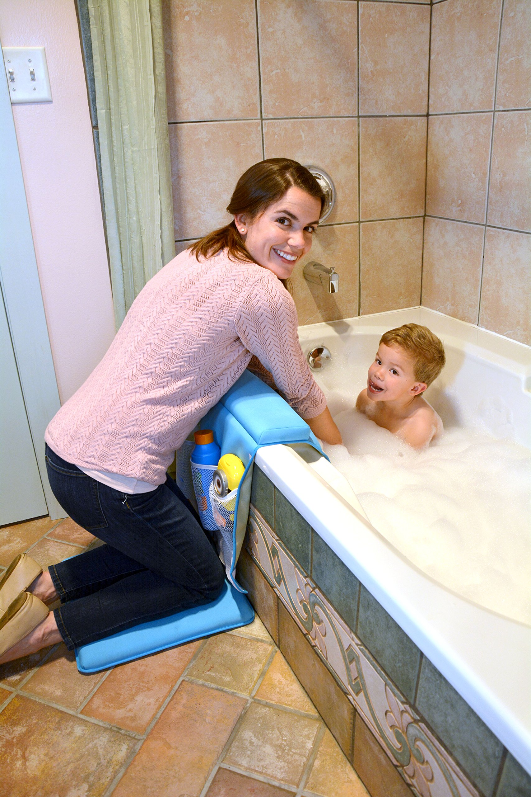 Life Upgrade Bath Kneeler in Blue - Padded Knee and Elbow Baby Bath Tub Cushion Mat with Pockets by Life Upgrade (Image #2)