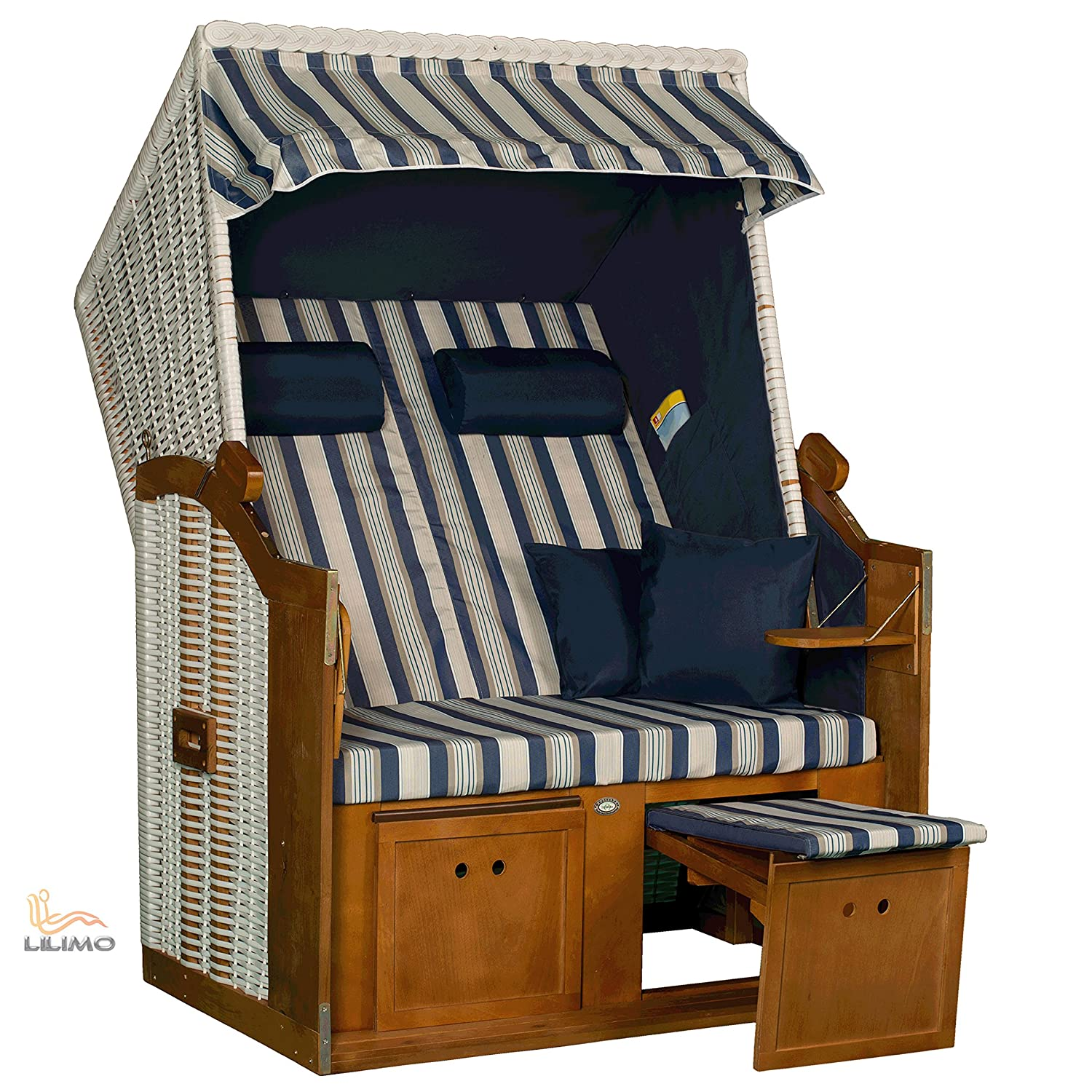 strandkorb ostsee blau geflecht wei variante d fertig montiert lilimo g nstig online kaufen. Black Bedroom Furniture Sets. Home Design Ideas