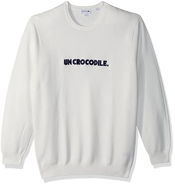 white lacoste sweater