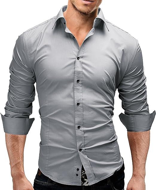 31 opinioni per Merish Camicia Uomo Slim Fit 14 Colori Taglia S- XXL Modell 01