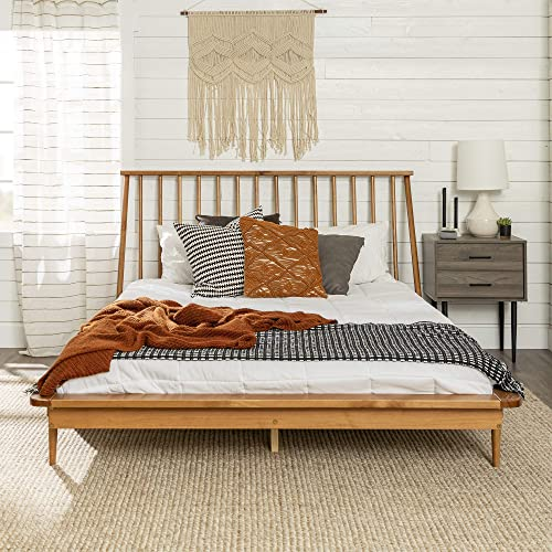 Queen Modern Wood Spindle Bed