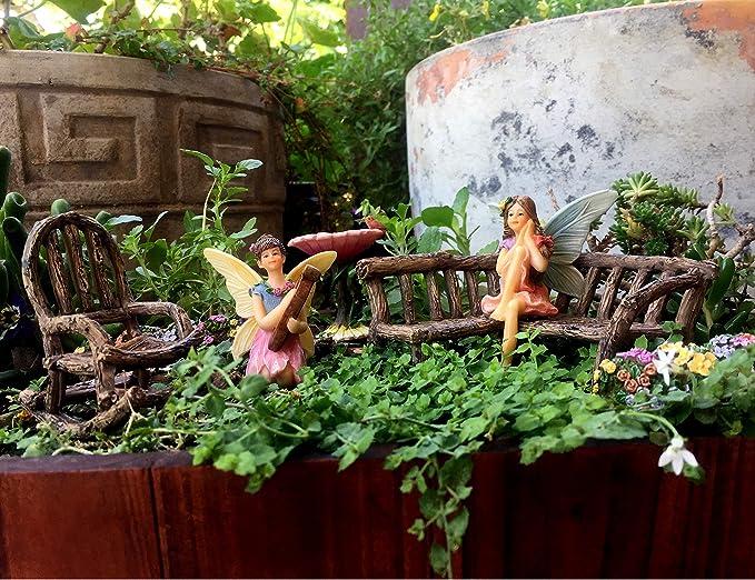 PRETMANNS Accessoires de Jardin de fée – Jardins Miniatures Fées et décorations de Meubles – 7 pièces Fée Ensemble de Jardin: Amazon.es: Hogar