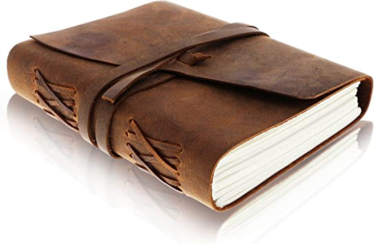 Amazon Com Leather Journal Writing Notebook Vintage Handmade Bound Notepad For Men Women Write In Plain Thick Paper 7x5 Inches Small Blank Pages Brown Drawing Sketchbook Travel Diary
