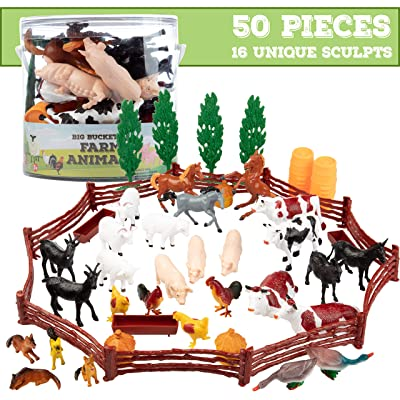 SCS Direct Farm Animal Toys Action Figures 50 Piece Toy Playset - 16 Unique Barnyard Animals and Accessories- Includes Cows, Horses, Chickens, Pigs and More: Toys & Games