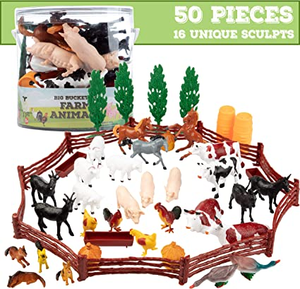 19 Pieces Farm Animals Toy Playset with Tree /& Fences Collectibles Gift