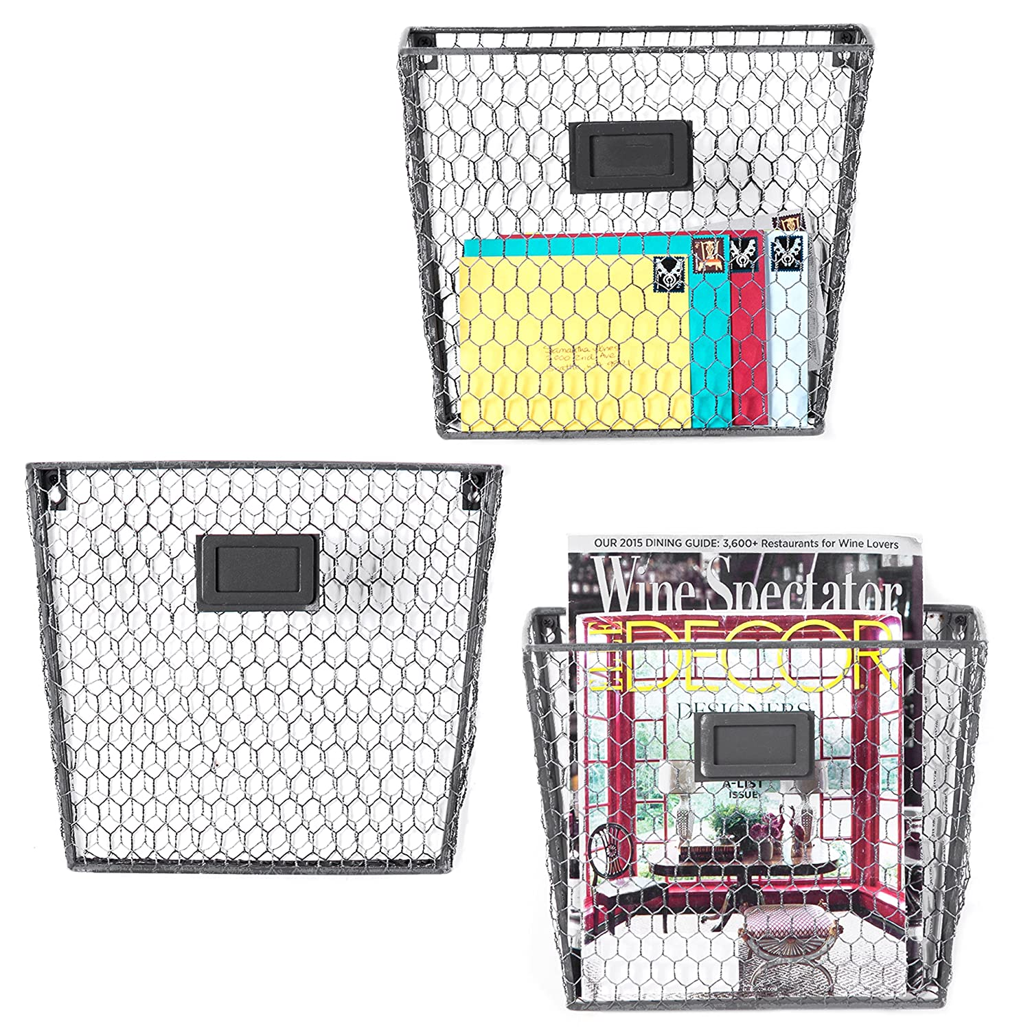 MyGift Set of 3 Wall-Mounted Copper-Tone Chicken Wire Magazine & File Folder Baskets