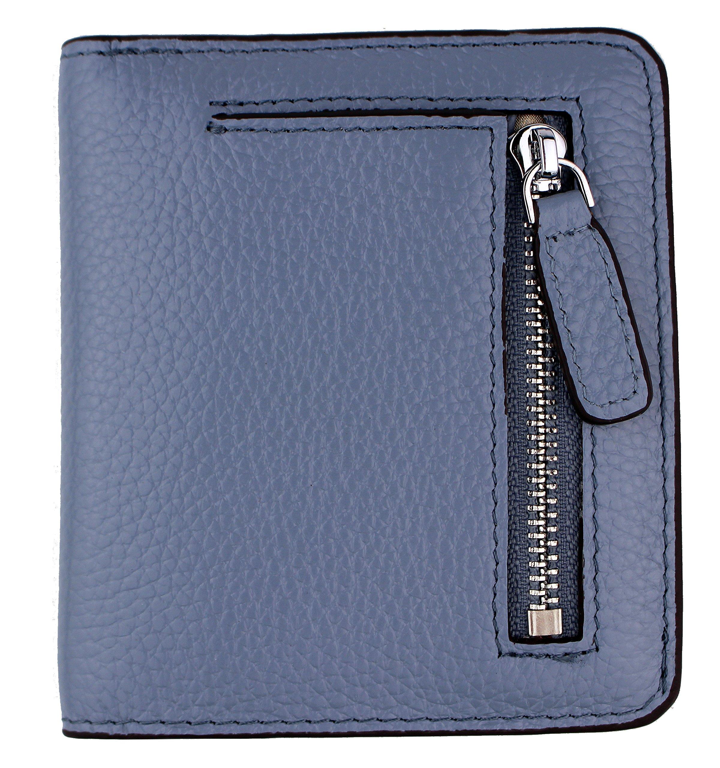 Women's RFID Blocking Small Genuine Leather Wallet Ladies Mini Card Case Purse (Gray Blue)