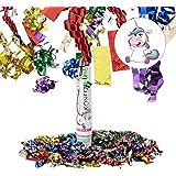 Relaxdays Lanceur de confettis canon cotillons 40 cm décoration portée 6-8 m fête carnaval coloré licorne, multicolore