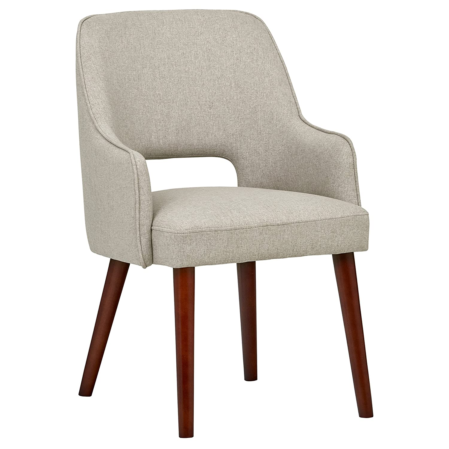 "Rivet Whidbey Mid-Century Modern Open Back Accent Kitchen Dining Room Chair, 22.8""W, Felt Grey"