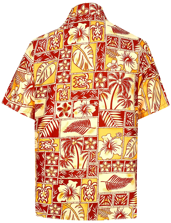 LA LEELA Mens Relaxed Hawaiian Shirt Beach Aloha Party Casual Vacation Printed