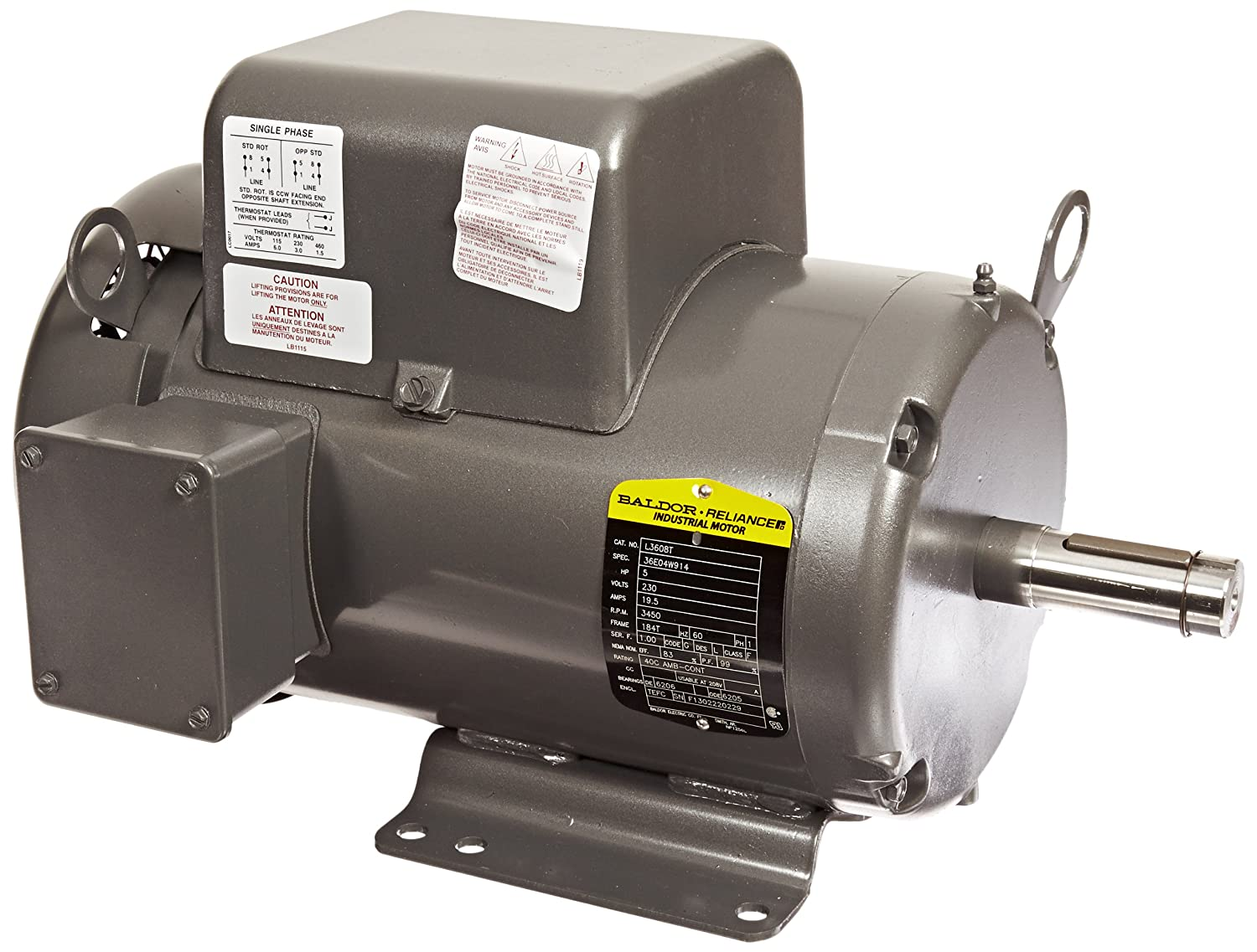 Baldor L3608T General Purpose AC Motor, Single Phase, 184T Frame, TEFC Enclosure, 5Hp Output, 3450rpm, 60Hz, 230V Voltage