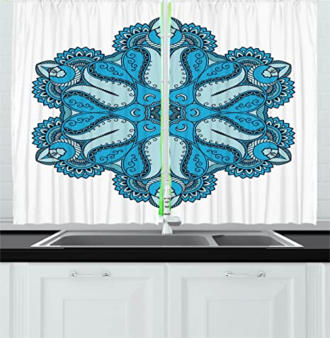 Amazon Com Ambesonne Mandala Kitchen Curtains Old Aged Mehndi Artisan Occult Power With Tulip Petal And Crescent Moons Design Window Drapes 2 Panel Set For Kitchen Cafe Decor 55 X 39 Blue Home