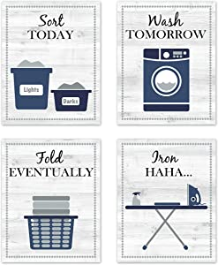 "Navy Blue Gray and White Retro Vintage Inspirational Laundry Room Rules Decorations Decor Wall Art for Laundromat Wash Sort Fold Iron Prints Posters Pictures Sign Rustic Modern Farmhouse Country Home Funny Sayings Quotes Unframed 8""x10"""