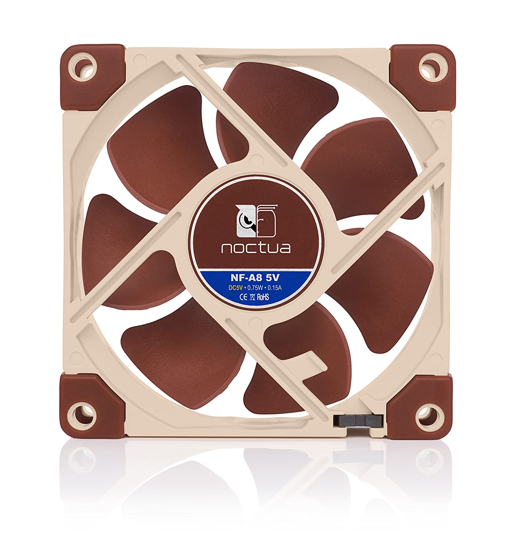 Ventilador Silencioso de Gran Calidad 80mm, Marr/ón 3 Pines Noctua NF-A8 5V Versi/ón de 5V