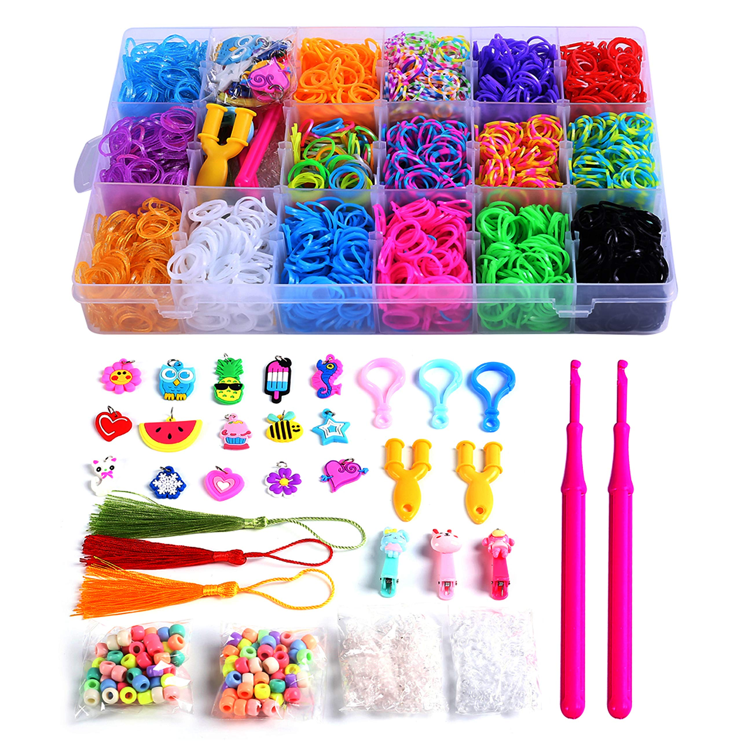 PENGXUAN Rainbow Color Rubber Loom Bands Refills Kit Set Storage Box For Kids Party DIY Crafting Bracelets Toys Gifts -Including 5800 Pcs Rubber Loom Bands 300 Pcs Slips 100 Beads 15 Charms and More